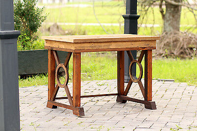 "Small 36"" Reclaimed Wood Craftsman Style Side Table Barn Wood Occasion Table"