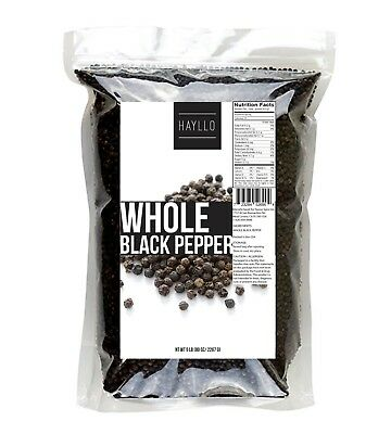 5 lbs Premium Quality Pure Whole Black Pepper Peppercorn by Hayllo Superfood