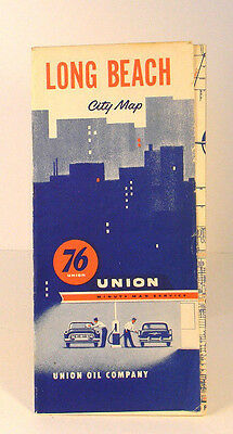 1950 Union 76 Oil Company Long Beach City Map Minute Man Los Angeles & Vicinity