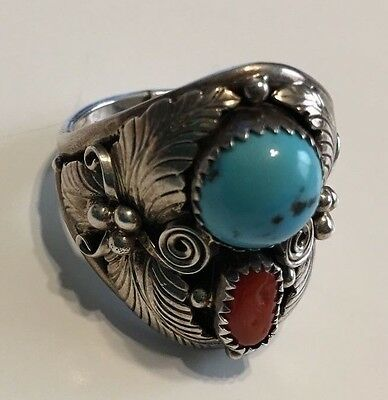 Sterling Silver Native American size 13 Ring Turquoise and Coral Navajo J1028