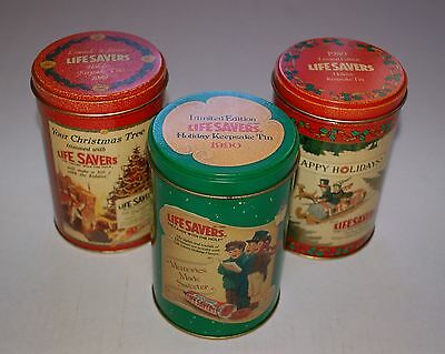 Life Savers Candy Collectible Tins Lot of 3 Limited Edition 1988 1989 1990 XMas
