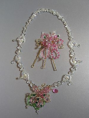 Wedding Special Occasion Crystal, Pearl Hair Pin & Necklace Set