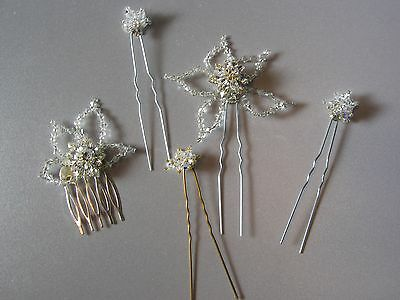 Wedding Special Occasion Clear Crystal Hair Pins & Comb 5 Piece