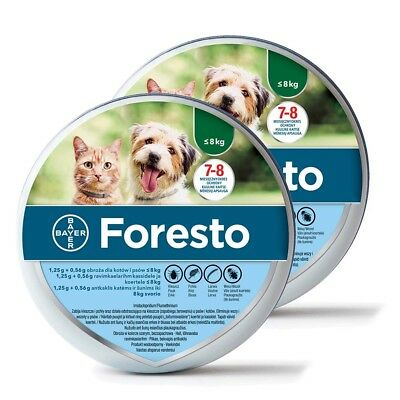 2x Bayer Foresto Flea & Tick Collar for Small Dogs and Cats under 18lbs