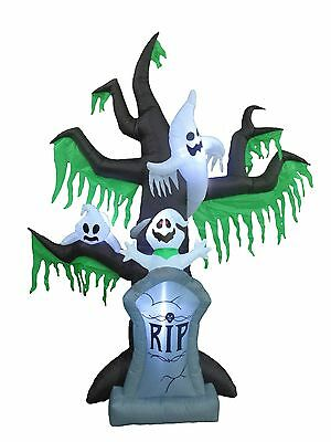 9 Foot Halloween LED Inflatable Tombstone Grave Ghost Tree Scene Yard Decoration