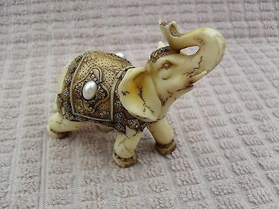 Natural Antiqued White Fissured Stone Small Elephant Figurine~Hand Carved