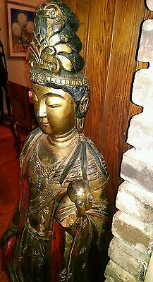 """Antique Buddha Bodhisattva Wooden Statue Hand Carved Polychrome 59""""Tall 48+LBS"""