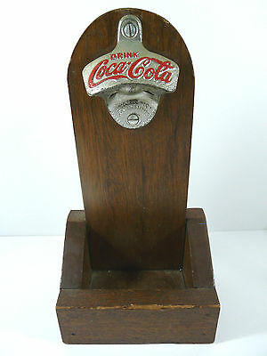 Vintage Coca Cola Star X Bottle Opener On Wall Mount Wood With Cap Receptacle