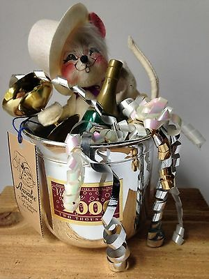 """ANNALEE - """"1999 Millennium Mouse"""" White Doll Silver Hat Champagne w Tag RARE"""