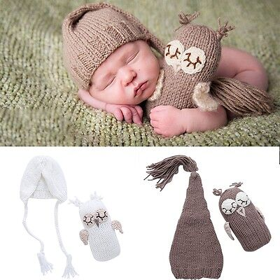 Newborn Baby Girls Boys Crochet Knit Hat+OwlToys Photo Photography Prop Outfits