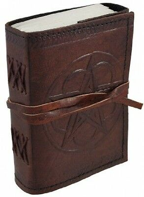 Embossed Leather Pentacle Journal Leather Cord 3 1/2 in. X 5 in. Tie Closure New