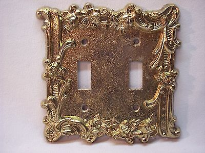 Vintage Heavy Ornate Rose Pattern Heavy Brass Double Switch Plate Cover Lot AA