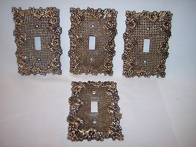 ONE Vintage Heavy Brass Floral Gingham Pattern Single Switch Plate Cover Lot JJ