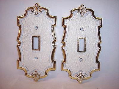 Vintage Ornate Pair White Brass Finish Single Switch Plate Cover Lot Made USA GG