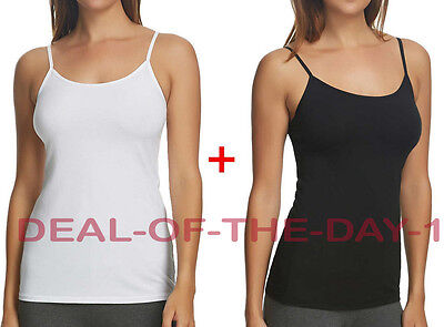 NEW in Box Ladies Small Maidenform Cotton Stretch 2-Pack Camisole Black + White