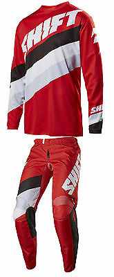 New 2017 Shift White Tarmac Pant And Jersey Combo- Red Motocross Offroad Enduro