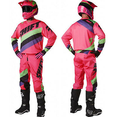 New 2017 Shift White Tarmac Pant And Jersey Combo- Pink Motocross Offroad