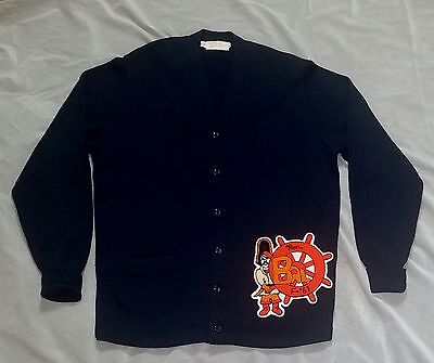 Vtg '61 All Wool Blue Bal Pirate  Patch Letterman Sweater Shannon & Johnson 46