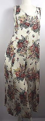 Vintage Late 1980s White Rayon Voile Sleeveless Jump Suit Pink Floral Print Sz M