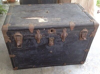 Vintage Wood Wardrobe Steamer Trunk - Black