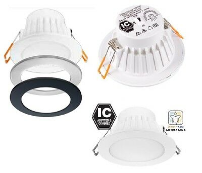 LED CCT Colour Changing Downlight White Silver Black Trim Flush Face 19590/05
