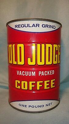 Vtg OLD JUDGE Coffee Can 1LB Tin St Louis Coffee Can cafe kitchen decor