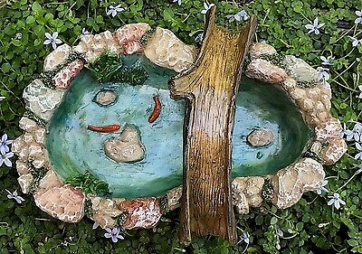 Miniature Dollhouse FAIRY GARDEN Accessories ~ Stone Look Pond w Tree Bridge Koi