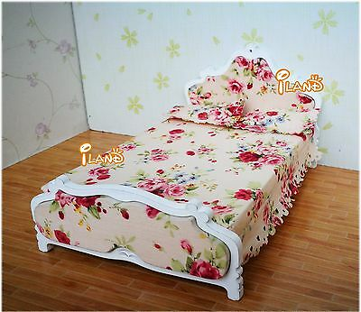 Dollhouse Miniature Bedroom Furniture Wooden Bed Easy to Assemble and Dismantle