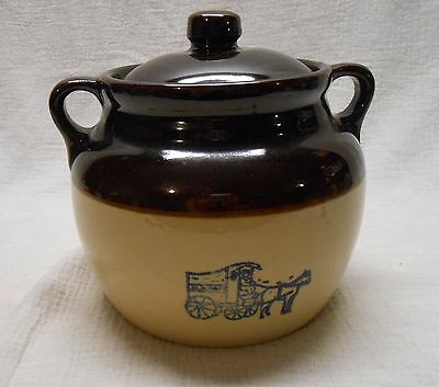 "Vintage Maple Leaf Monmouth Pottery Bean Pot w/ Original Lid USA 9 1/2"" Tall"