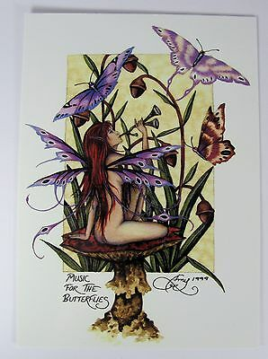 Amy Brown Music For The Butterflies Gothic Fairy Postcard Art Print Collectible