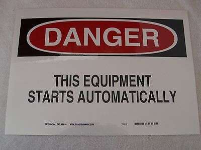 """DANGER THIS EQUIPMENT STARTS AUTOMATICALLY - 14"""" x 10"""" Polyester Sticker Sign"""