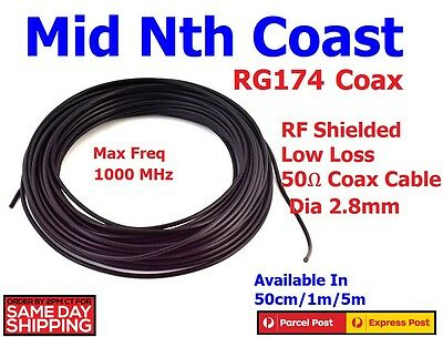 RG174 Coax Cable Single Shielded with Black PVC Semi Flexible Jacket 50ohm