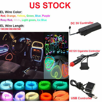 1-5M LED Flexible Neon Glow EL Wire Tape Strip For Xmas Party Deco+ Controller
