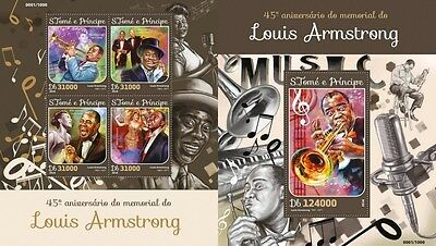 Z08 IMPERFORATED ST16111ab Sao Tome and Principe 2016 Louis Armstrong MNH Set