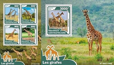 Z08 Imperforée CA16007ab CENTRAL AFRICA 2016 Girafes MNH Jeu