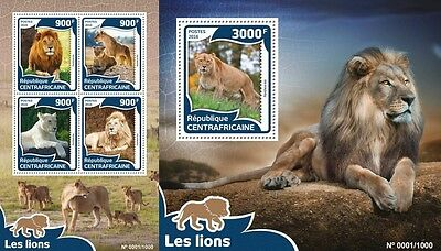 Z08 Imperforée CA16005ab CENTRAL AFRICA 2016 Lions MNH Jeu