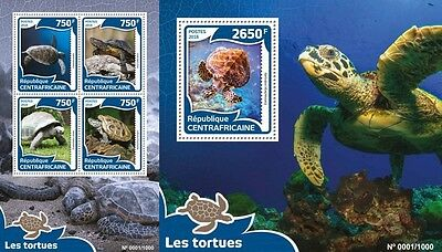 Z08 Imperforée CA16012ab CENTRAL AFRICA 2016 Tortues MNH Jeu