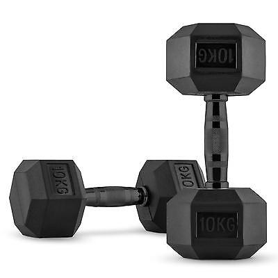 Capital Sports Hexbell Dumbell Pair Fitness Gym  Weight Lifting  2 X 10 Kg Black