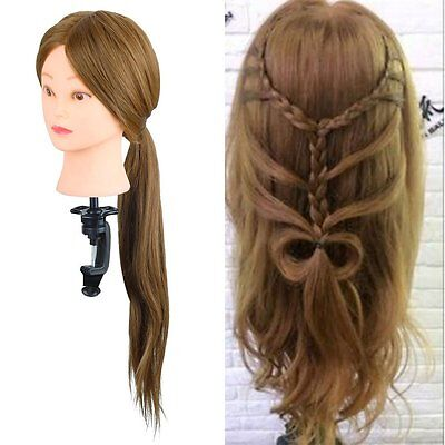 26'' 30% Real Human Hair Salon Hairdressing Training head Mannequin Doll &Clamp