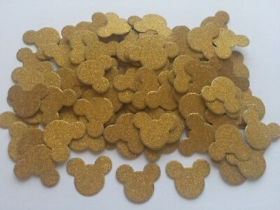 100 Wedding Mickey Mouse gold glitter heads ears party table sprinkles confetti