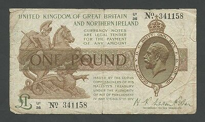KGV Fisher - £1  1927-8  Northern Ireland  T34  VG  ( Banknotes )