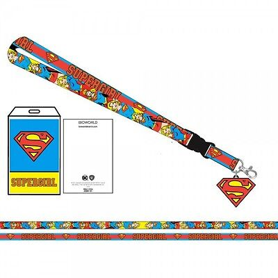 DC Comics Supergirl Logo/Character Lanyard Charm ID Holder NEW Licensed