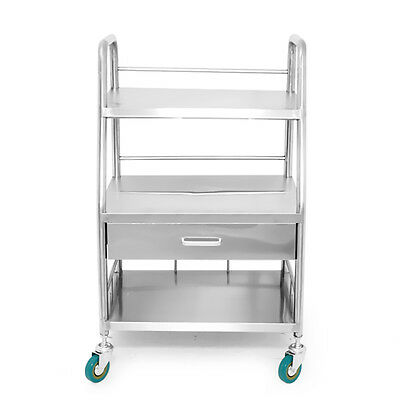 Portable Durable 3 Layers Drawer Serving Medical Dental Lab Cart Trolley FS945