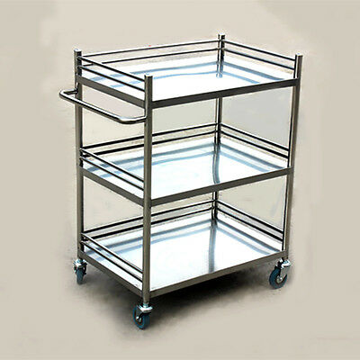New Stainless Three Layer Medical Serving Dental Lab Cart Trolley FS945 Portable