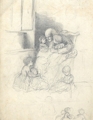 Joseph Clark - Late 19th Century Graphite Drawing, Sitting with Grandfather
