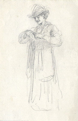 Joseph Clark - Late 19th Century Graphite Drawing, Lady in a Hat