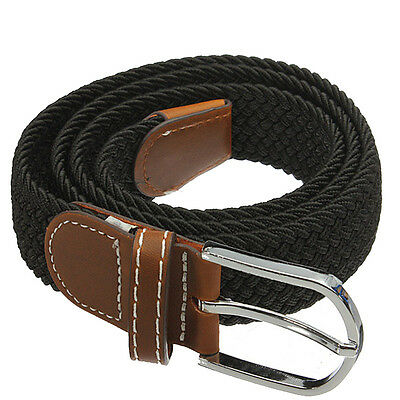 Unisex Stretch Braided Elastic Leather Buckle Belt Waistband black BF