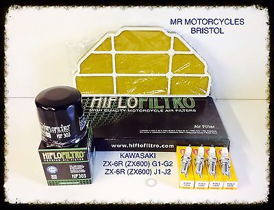 KAWASAKI ZX-6R G1-G2, J1-J2 Service Kit, Air Filter, Oil Filter, Plugs SER4128