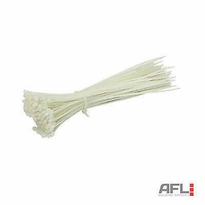 100x Nylon Self Locking Universal Secure Cable Ties 100mm to 450mm Natural/Clear