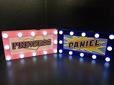 Childrens LED Personalised Name In Lights room Sign or Bedroom Door Plaque